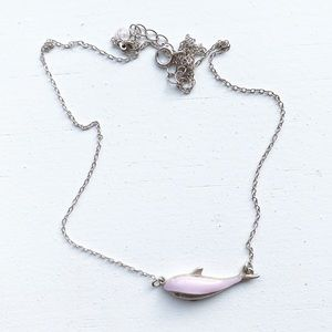 Sterling silver & lilac whale pendant necklace